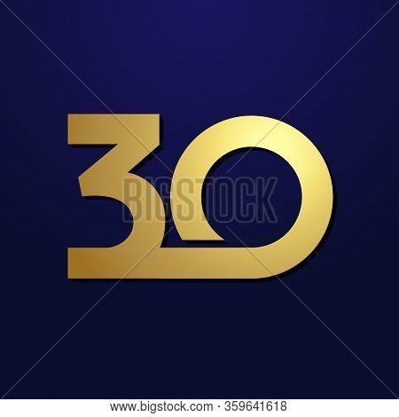 30 Th Anniversary Numbers. 30 Years Old Logotype. Shining Golden Congrats. Isolated Abstract Graphic