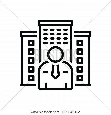 Black Line Icon For Owner Holder Property Estate House Mortgage Apartment Master Proprietor Landlord