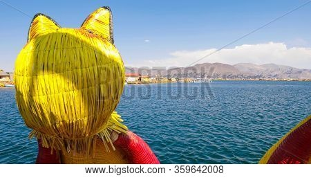 Titicaca Lake Peru, August 16. View Of Lake Titicaca From One Of The Typical Boats Made Of Totora Th