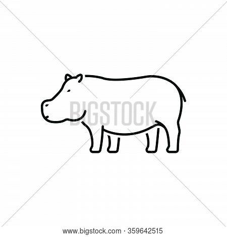 Black Line Icon For Hippopotamus Semi-aquatic-mammal Mud Omnivorous Nature Animal Jungle Wildlife
