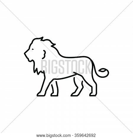 Black Line Icon For Lion King-of-the-forest Carnivorous King Majestic Hunting Predator Wild Nature A