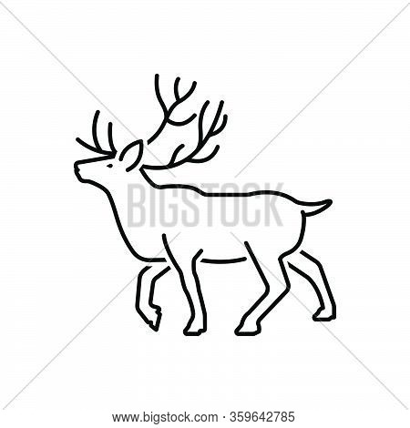 Black Line Icon For Reindeer Stag Horned Antler Herbivores Nature Animal Jungle Wildlife Zoo