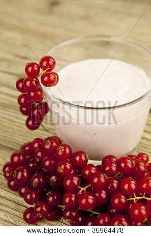Deliscious Fresh Currant Yoghurt Shake Dessert On Table