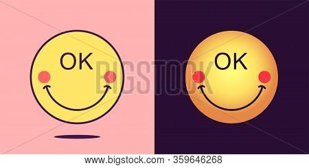 Emoji Face Icon With Phrase Okey. Optimistic Emoticon With Smile And Text Ok. Set Of Cartoon Faces,