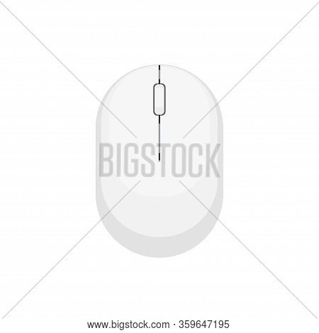 White And Black Computer Mouse Isolated On White Background. Simple Flat Vector Illustration
