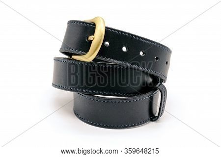 Sample Of Classic Leather Mens Belt With Metal Shiny Buckle Handmade In Black Twisted Into A Ball, T