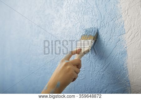 Overhaul Concept. Paint Texture Wall With Brush, Free Space