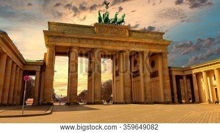 The Famous Brandenburg Gate (brandenburger Tor) In Berlin, Germany