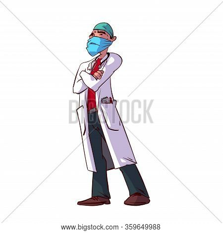 Colorful Vector Illustration Of A Male Doctor Specialist