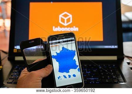 Bordeaux , Aquitaine / France - 03 03 2020 : Leboncoin Website On Smartphone Phone Leboncoin.fr Web
