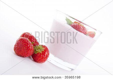 Fresh Deliscious Strwaberry Yoghurt Shake Cream Isolated