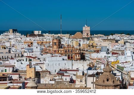 Panoramic View Of The Old City Rooftops From Tower Tavira In Cadiz, Andalusia, Spain