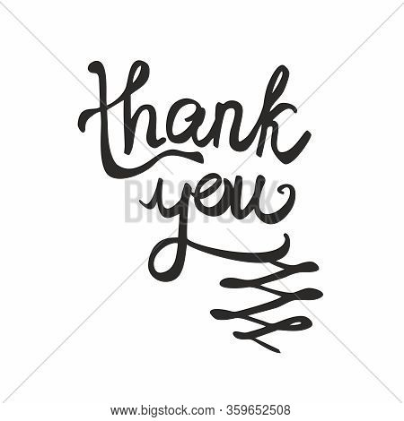 Thank You Black Handwritten Vector Text Isolated On White Background