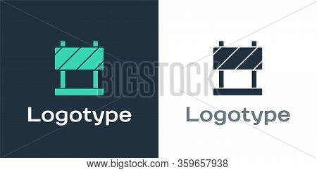Logotype Road Barrier Icon Isolated On White Background. Symbol Of Restricted Area Which Are In Unde