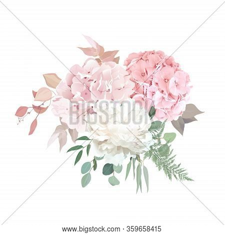 Dusty Pink Blush, White And Creamy Hydrangea, Peony Flowers Vector Design Wedding Bouquet. Eucalyptu