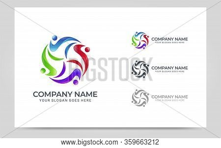 Abstract Logo Of People, Business, Foundation, Community, Human Caring, Health Workers. Vector Graph