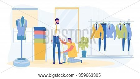 Guy And Dressmaker Taking Measurement In Fashion Salon. Groom Preparing For Wedding. Tailoring Shop