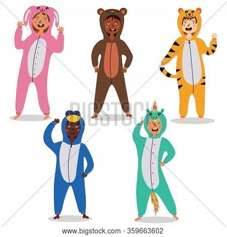 Children In Kigurumi Pajamas