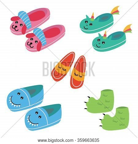 Set Of Funny Kids Pajama Slippers. Pajama Party. Vector Editable Illustration