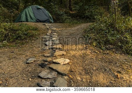 Travel And Camping Life Style Concept Outside Picture With Stone Rustic Trail Go To Tent Camp Site U