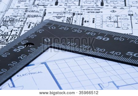 Blue Prints And Ruler