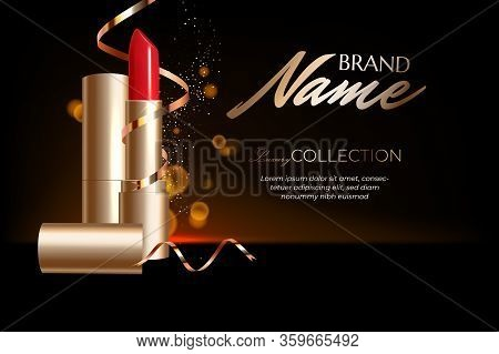 Design Lipstick Advertising Mockup For Catalog And Magazine. Product Design, Lipstick Mockup