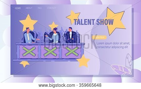 Television Talent Show Presentation Landing Page. Jury Sitting At Desk And Chatting About Future Per