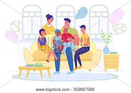 Happy Smiling Multiracial Big Family With Children Sitting On Sofa In Living Room At Home. Kids Of D