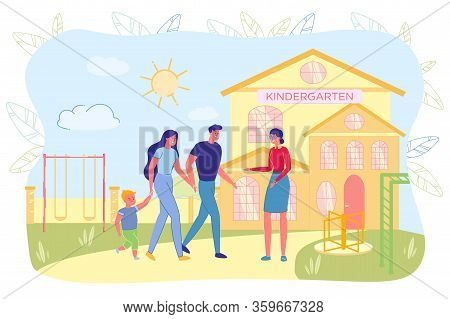 Mother And Father Carrying Kid To Kindergarten. Teacher Nanny Babysitter Meeting Preschool Child And