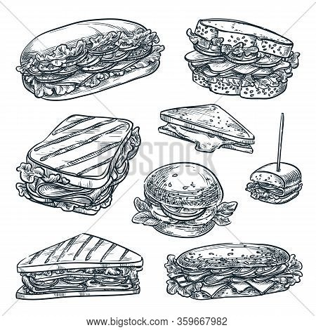 Homemade Sandwiches Set, Isolated On White Background. Fast Food Snacks Vector Sketch Illustration.