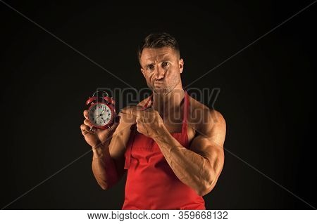 Time And Schedule. Nutritional Scheme. Man Chef Wear Apron. Sexy Muscular Chef Black Background. Att