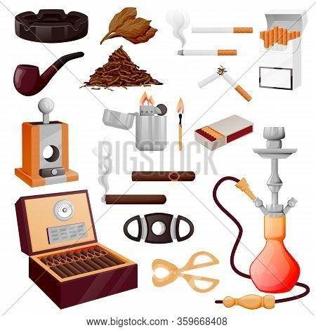 Cigarette, Cuban Cigars And Accessories. Vector Cartoon Illustration. Tobacco, Hookah And Nicotine S