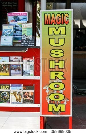 Bali, Seminyak - October 06, 2013: On The Street Near The Store, A Sign For The Sale Of Magic Mushro