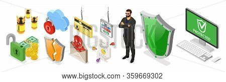 Cyber Security Isometric Banner. Hacking And Phishing. Guard Protects Computer From Hacker Attacks L