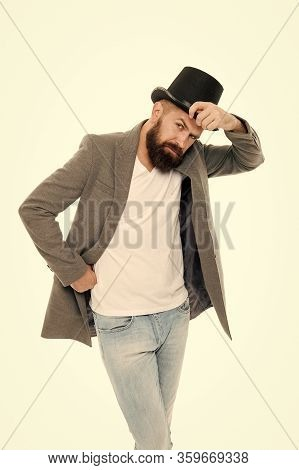 Without Compromising On Style. Fashion Man In Retro Style. Trendy Hipster With Mustache And Beard In
