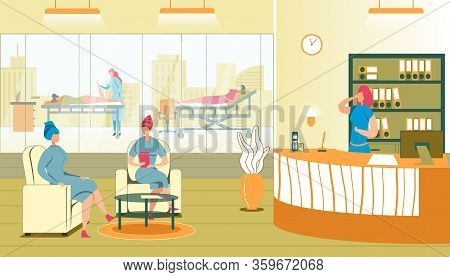 Spa Salon Reception, Client Sitting In Armchair After Procedure. Women Visiting Spa. Administrator S