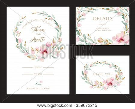 Spring Bird On Blooming Branch With Green Leaves And Flowers. Watercolor Wedding Invitation Card Blo