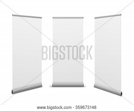 Roll Up Banners. Advertising Billboard, Promotional White Poster Mockup, Empty Info Stand Template E