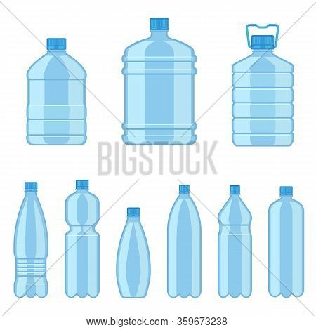Plastic Water Bottles. Flat Containers Different Capacities For Liquids, Beverages Advertisement Ser