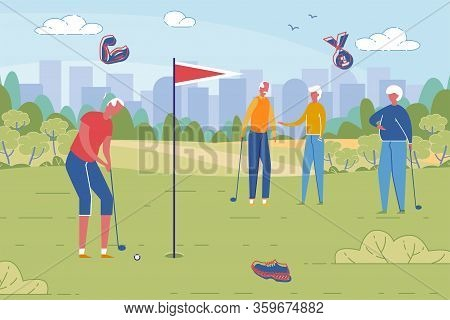 Sportive Healthy Old People Active Leisure And Recreation In Retirement Age. Senior Elderly Men And