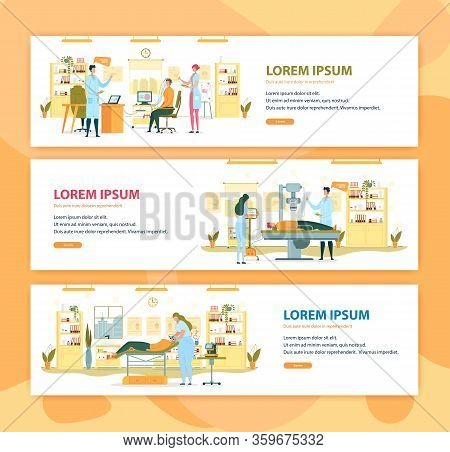 Doing Electroencephalogram, Xray And Microdermabrasion Flat Cartoon Banners Vector Illustration. Bra