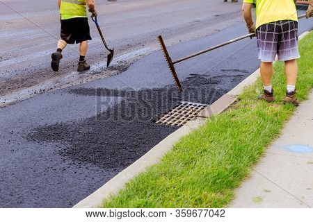 Fresh Asphalt Construction Street Resurfacing New Road Construction