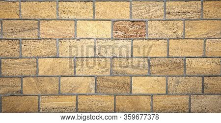 Limestone Wall Texture Background Cement Seams Close Up