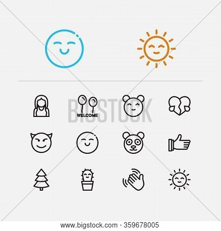 Emoji Icons. Set Of Thumb Up, Character Panda, Emoji Sun Vector Sign Symbols. Vector Illustration Of
