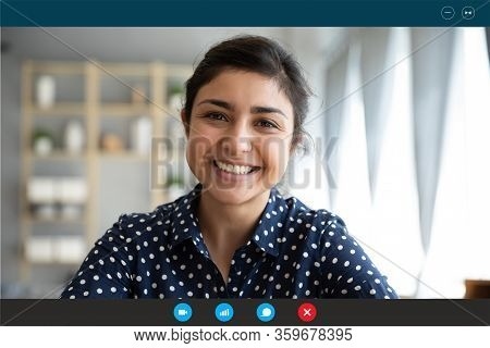 Laptop Webcam View Indian Woman Communicating Distantly By Video Call