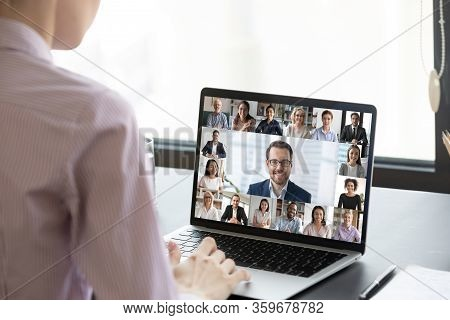 Multiracial People Involved In Group Video Call Pc Screen View