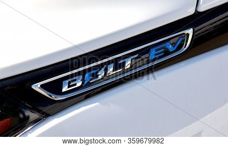 Montreal, Canada - April 4, 2020: Chevrolet Bolt Ev Electric Car. Chevrolet Is One Of The Most Popul