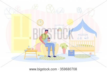 Parent Is Cradling Newborn, Vector Illustration. Man Sits In Chair In Childrens Room And Shakes In A