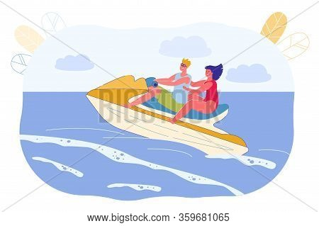 Man And Girl Have Fun Riding Water Boat, Cartoon. Hiking On Beach With Boat Ride On Water. Summer Fu