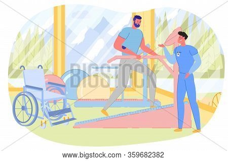 Rehabilitation Training, Physiotherapy Exercises. Man That Survived Accident Undergoes Session With